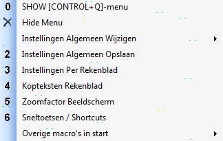 Control+m en Control+q menu's